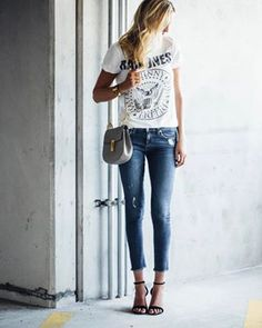 Graphic t-shirt with denim. See more at www.herstyledview.com
