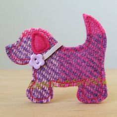 purple harris tweed dog brooch by fibrespace | notonthehighstreet.com