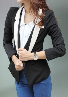 Black Contrast Zipper Collar Long Sleeve Suit