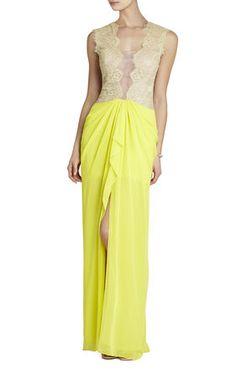 Brandy Sleeveless Lace-Bodice Gown | BCBG