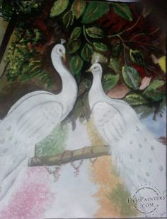 Acryl Painting of White peacock