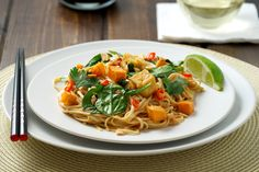 Spicy Noodles with Sweet Potato, Spinach and Tofu