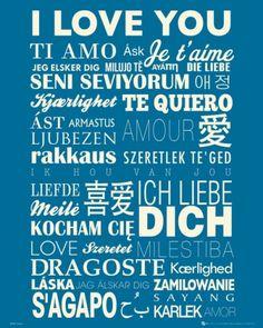 Kocham Cię w Różncyh Językach - plakat motywacyjny