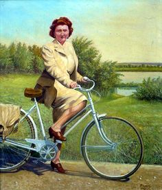 1946 French Lady on Bicycle