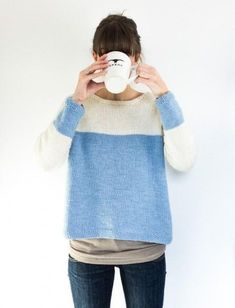 There's no better antidote to feeling blue than wearing blue! Enjoy a relaxing knitting project before cozying up in a brand new handmade spring sweater. | blue and cream sweater knitting pattern