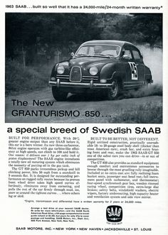 1963 SAAB Granturismo 850 Advertising Car and Driver March 1963 by SenseiAlan, via Flickr
