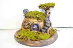 Jake Folger How To Sculpt A Stone Fairy House and Moss Garden With Polymer Clay Fairy Tree Houses, Clay Fairy House, Miniature Trees, Miniature Fairy Gardens, Miniature Houses, Clay Houses, Mini Houses, Polymer Clay Fairy, Clay Fairies