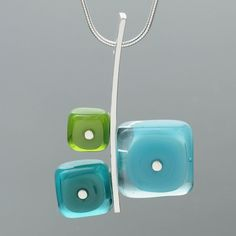 One large lampworked glass square and two smaller . One large lampworked glass square and two smaller lampworked glass squares are mounted together to sterling silver to make a contemporary colorful necklace! Fused Glass Jewelry, Fused Glass Art, Dichroic Glass, Glass Necklace, Glass Beads, Glass Pendants, Stained Glass Church, Stained Glass Quilt, Alcohol Ink Glass