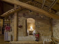 In a Swiss Alps Chalet - an interior house shaped bedroom fit for storybook gnomes