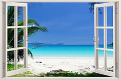 """My Vacation 3D Removable Wall Decals Stickers Posters Window Vinyl Art for Walls by Bomba-Deal 33.5"""" X 47"""" Bomba-Deal http://www.amazon.com/dp/B00O906KCY/ref=cm_sw_r_pi_dp_A5n8wb14MHP7T"""