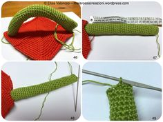 This cube face is composed by a tomato red ( color code 390 ) square base, a padded tubular handle ( Apple Green, color code 205 ) and 3 circular rings in these colors: white ( color code 106 ), ca… Baby Patterns, Knitting Patterns, Crochet Patterns, Crochet Handles, Crochet Baby Toys, Yarn Tail, Last Stitch, Crochet Squares, Chain Stitch