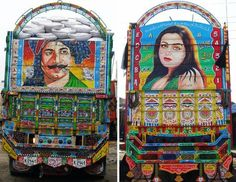 truck art - one of pakistan's more vibrant contemporary art forms. on road trips to lahore via the grand trunk road i'd while away the journey by reading the poetry that was often accompanied the detailed and intricate art work. this article provides further details http://weburbanist.com/2008/11/22/truck-art-asia-pakistan/