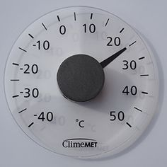 Self-adhesive ClimeMET window thermometer in degrees Celsius.