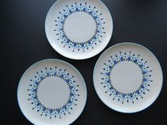 Mid Century Dinner Plates // Stetson Marcrest Swiss Alpine Vintage China Dinner Plates Blue and Green Trees Forest Leaves Pattern Modern Set