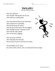 Second Grade Reading Comprehension Worksheet - Starts With J