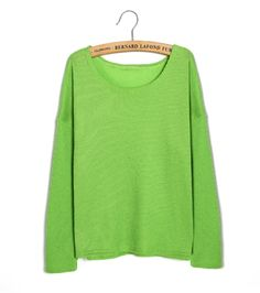 $3.91New Women's Fashion Top Loose Sweater Female Knitting Crew Neck Long Sleeve