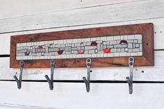 Gray and red mosaic coat rack
