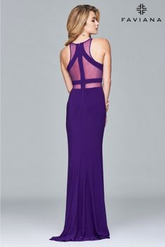 <p><span>Long halter dress with illusion insets</span></p>