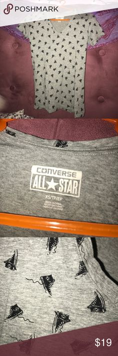 Converse All Star V-Neck Hightop Print T-Shirt Super cute, little shoes all over it. If you love the All Star Brand, this shirt is for you! Converse Tops Tees - Short Sleeve