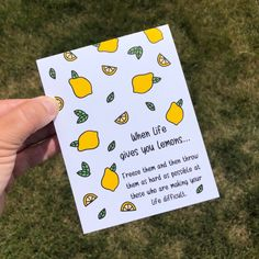 When life gives you lemons.dont make lemonade! This funny greeting card is a sure way to bring a little smile to someones face if they are going through a rough patch! Send out a little encouragement with this fun card (or grab a few to have on hand). Birthday Cards For Friends, Funny Birthday Cards, Diy Birthday, Birthday Quotes, Birthday Images, Birthday Humorous, Sister Birthday, Boyfriend Birthday, Birthday Greetings
