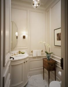 powder room with wainscot wall -- integrated vanity. built-in at its best powder room with wainscot wall -- integrated vanity. built-in at its best Interior Design Blogs, Diy Interior, Interior Architecture, Interior Decorating, Bad Inspiration, Bathroom Inspiration, Bathroom Ideas, Bathroom Table, Bathroom Things