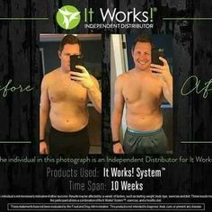 I know your man wants to get in shape too!!! 💪🏼 My husband loves these product and so does my friend! 👇🏼👇🏼Check out his results after 2 months on the It Works system!!  📲 Message me now to get started!!!   5️⃣ spots left To use my discount!!