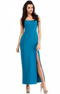 Moe MOE202 sukienka turkusowa Efektowna sukienka, pionowe przeszycia optycznie wysmuklają sylwetkę, z przodu rozcięcie do wysokości uda