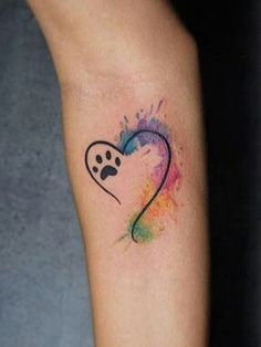 watercolor infinity with heart and paw print tattoo design for wrist rh pinterest com love heart paw print tattoo love heart paw print tattoo