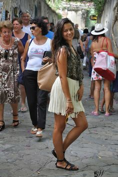 Sandals walking the streets Italian