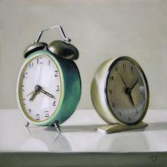 'Two Vintage Clocks' painting