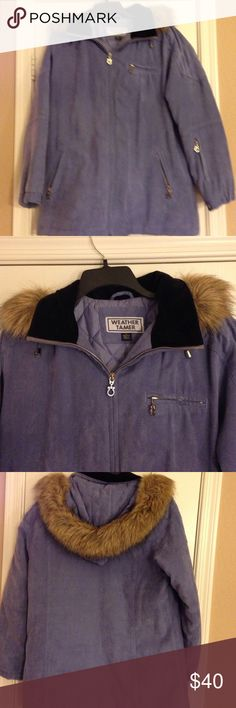 Weather Tamer Periwinkle Blue zip up jacket-Size M Weather Tamer Periwinkle Blue zip up jacket-Size M. This jacket is beautiful it has 4 zip pockets, It's completely quilted inside and the hood is removable. The hood has a faux fur trim. The material is that super soft faux suede. The shell is 100% polyester, the lining is 100% nylon and the faux fur trim is acrylic and modacrylic. This is machine washable. I always loved this coat it's well cared for and in great condition. It's just too…