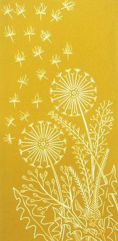 Dandelion - linocut - Elaine Marshall, U.K.