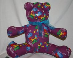 Really love what NinasShareABear is doing on Etsy. Scary Kids, Very Scary, Backrest Pillow, Dinosaur Stuffed Animal, Bear, Pillows, Purple, Trending Outfits, Children