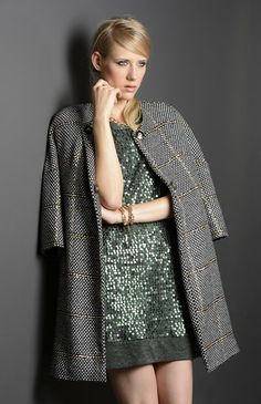 Lurex coat and sequins dress for Daniela Colombo winter outfit. #lurex #coat #holidays #Danielacolombo #sequins #winter