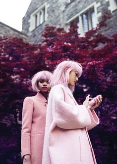 The Pink Ladies: A rose is still a rose is still a...rose-coloured topper, arguably the ruling coat of the season. Left: Coat, Gucci. Right: Coat, Rochas. Phone case, Skinnydip. - FLARE Magazine September 2014