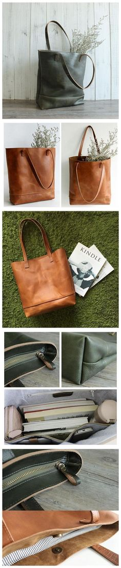 Handmade Women Fashion Natural Green Leather Tote Bag Shoulder Bag Shopper Bag 15010
