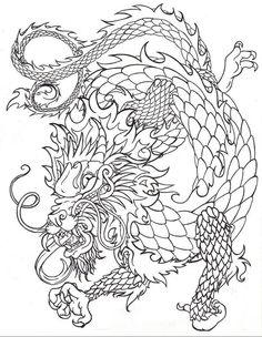 Chinese dragon drawings | Chinese dragon line by death-of-a-salesman