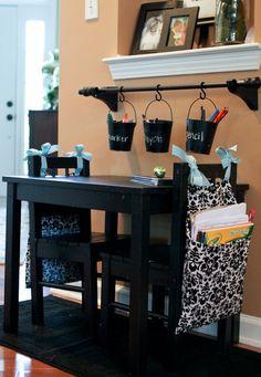 Homework table...adorable!  Love the curtain rod buckets too.