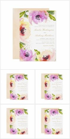 Chic Blossom Watercolor Floral Wedding Invitation Suite. Pink and purple floral watercolor wedding collection #ad #pink #purple #floral #flowers #watercolor #wedding #invitation #springwedding #summerwedding #floralwedding #gardenwedding #outdoorwedding #rusticwedding