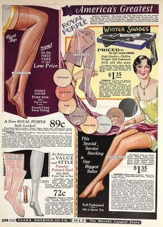 "Autumn and Winter Hosiery advice from 1928. ""In choosing winter hosiery, again I would go for Sears Royal Purple brand- as they stock some very sheer chiffon stockings in some gorgeous winter shades – such as champagne, even-glow, and various nudes."""