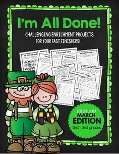 10 fast finisher projects for March, great problem solving situations that involve reading, writing, and math!