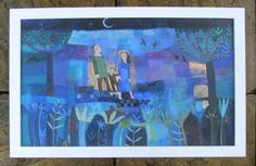The family by Moonlight, original framed painting