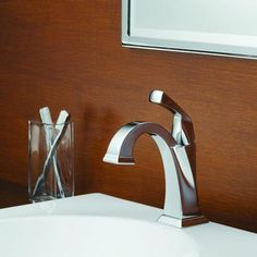 Buy the Delta Chrome Direct. Shop for the Delta Chrome Dryden Single Hole Bathroom Faucet with Diamond Seal Technology - Includes Pop-Up Drain Assembly and save. Delta Bathroom, Bathroom Sink Faucets, Concrete Bathroom, Hall Bathroom, Bathroom Hardware, Bathroom Cabinets, Sinks, Bar Sink Faucet, Lavatory Faucet