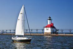 St. Joseph Harbor Lighthouse on Lake Michigan, Benton Harbor, Michigan