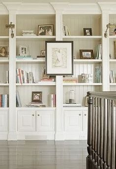 "Idea for ready-made bookcases, just add wood moldings to front and it looks ""built in"""