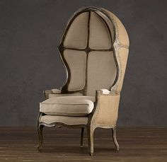 VERSAILLES DOMED BURLAP-BACKED CHAIR $1795 - $2395 In the grand chateaux of 18th-century France, the porter, stationed by the entrance to admit visitors, would have sat in a chair much like this. Inspired by classic 18th-century Louis XV chairs