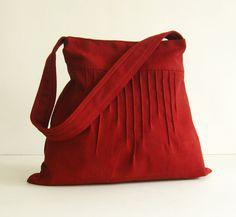 Sale - Deep Red Hemp/Cotton Lines Bag - Shoulder bag, Diaper bag, Messenger bag, Tote, Travel bag, Women, Purse on Etsy, $31.00
