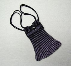 Vintage silver and black drawstring purse, crocheted purse with cut steel beads, 1920's