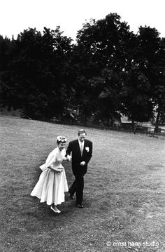 Audrey Hepburn and Mel Ferrer on their wedding day in Bürgenstock, Switzerland, September 25, 1954. Photographs by Ernst Haas.