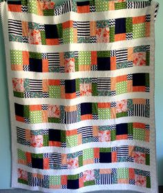 Crazy 9 Patch Navy, Green, & Orange Custom Modern Quilt. Measures aprox 72x90 (XL twin bed). It can be made in different sizes with different fabrics as well! $250.00